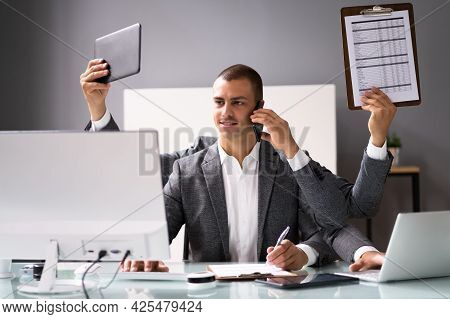 Happy Busy Business Man Multitasking. Employee Workload