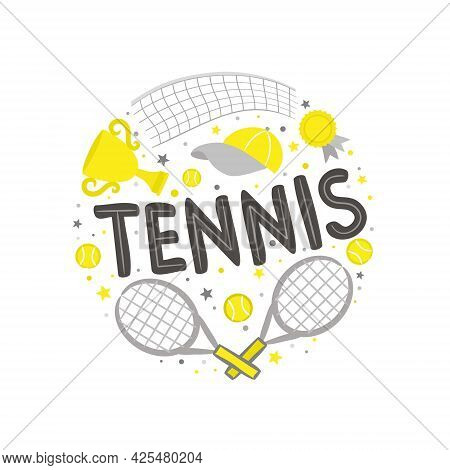 Cute Hand Drawn Tennis Emblem With Sports Element, Tennis Rackets, Balls And A Cap. Round Logo For A