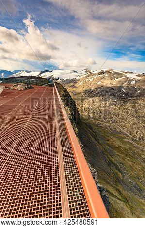 Scenic View On Mountains Landscape From Dalsnibba Viewpoint, Geiranger Skywalk Platform Floor Surfac