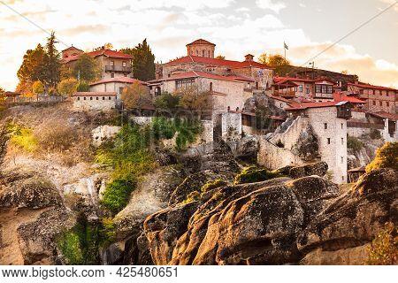 Great Meteoron Monastery On Cliff In Meteora, Thessaly Greece. Greek Destinations