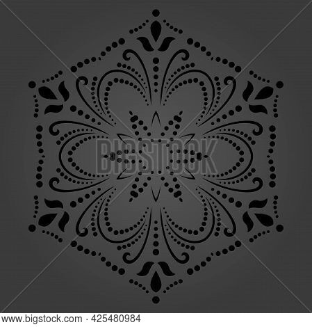 Classic Seamless Vector Pattern. Damask Orient Dark Round Ornament. Classic Vintage Background. Orie