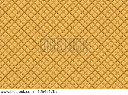 Wafer Seamless Pattern Background. Ice Cream Cone Waffle Texture. Crispy Wafers.
