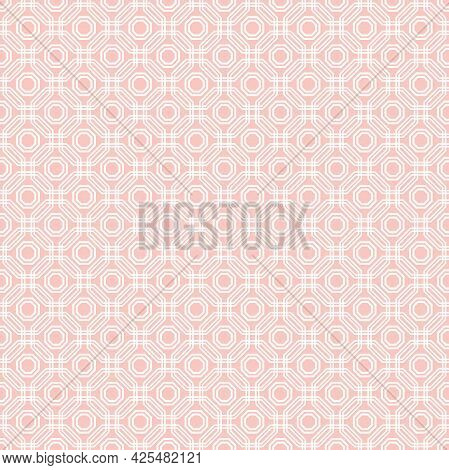 Geometric Abstract Vector Octagonal Background. Geometric Abstract Pink Ornament. Seamless Modern Pa