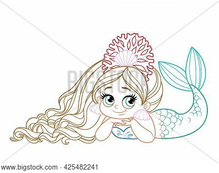 Cute Coquettish Mermaid Girl In Coral Tiara Lies On A White Background Colored Outlined For Coloring