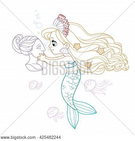 Cute Little Mermaid Girl In Coral Tiara Carefully Examines The Head Of The Sculptural Bust Colored O