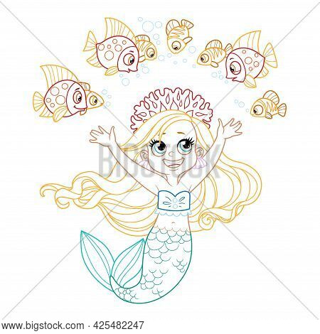 Cute Little Mermaid Girl In Coral Tiara Communicates With Fish Colored Outlined For Coloring Page On
