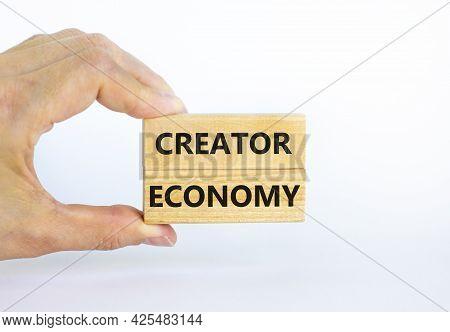 Creator Economy Symbol. Wooden Blocks With Words Creator Economy On Beautiful White Background, Copy