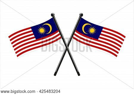 National Flags Of  Malaysia, In The Original Colours Crossed  On The Sticks