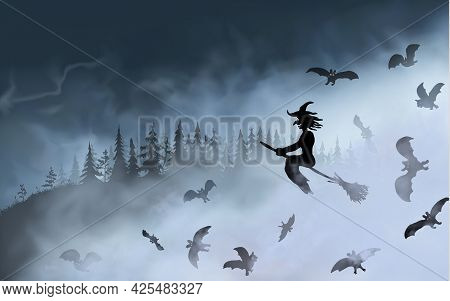 The Witch Sitting On The Broom Flyes Through Fog Clouds Up Above The Dark Forest. Halloween Vecto Il