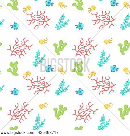 Colored Sealife Pattern With Shripms And Fishes Vector