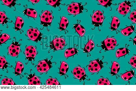 Fashion Animal Seamless Pattern With Colorful Ladybird On Color Background. Cute Holiday Illustratio