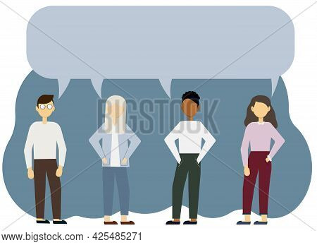 Vector Illustration Of A Group Of Men And Women With A Common Bubble