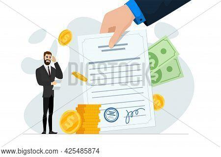 Shocked Frustrated Businessman Hold Financial Or Mortgage Bills. Broke, Financial Problem And Debt C