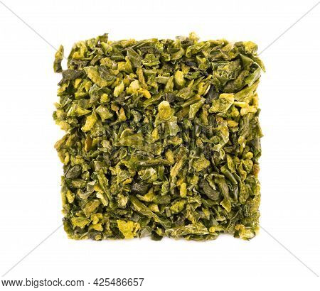 Dried Green Paprika Flakes With Seeds Isolated On White Background. Chopped Jalapeno, Habanero Or Ch