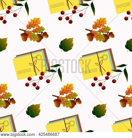 A Pack Of Postal Envelopes, Berries And Acorns And Autumn Leaves. Autumn Pattern. Vector Illustratio