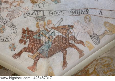 Martin Of Tours Cutting His Cloak In Two And Gives One Half To A Begger, An Anciet Fresco In Skibby