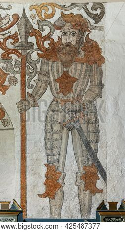 A Knight In Armor With Sword And Spear In A 16th-century Fresco, Skævinge, Denmark, June 30, 2021