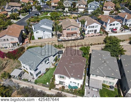 Aerial View Of Large-scale Villa In Wealthy Residential Town Encinitas, South California, Usa.