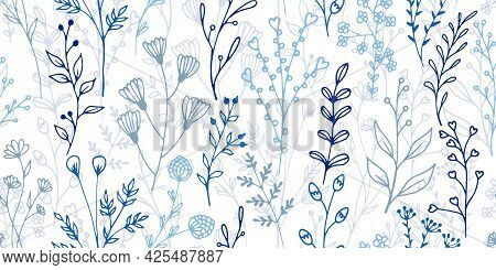 Field Flower Sprouts Botanical Vector Seamless Ornament. Delicate Herbal Fabric Print. Herb Plants L