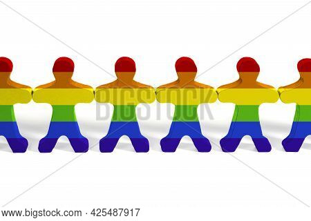 Wooden Toy People In Lgbt Rainbow Colors. Lgbt Rights. Equality Of Rights. Human Rights And Toleranc