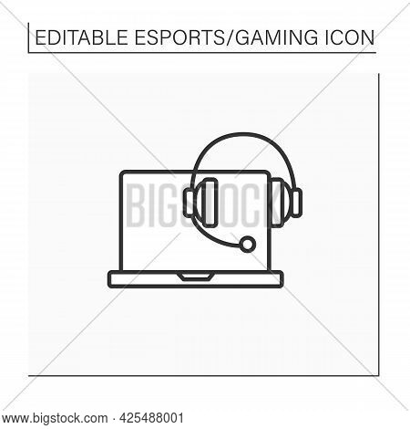 Technical Devices Line Icon. Laptop And Headset. Cybersport Concept. Isolated Vector Illustration.ed