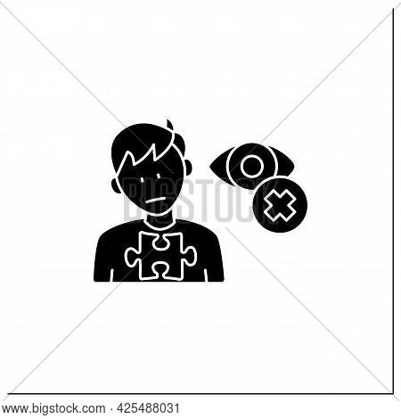 Neurodevelopmental Disorder Glyph Icon. Eye Contact Avoidance. Poor Contact. Autism Spectrum Disorde