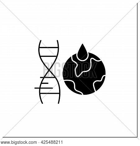 Climate Change Glyph Icon. Gmo Harmful Effects On Climate. Global Warming. Genetically Modified Orga