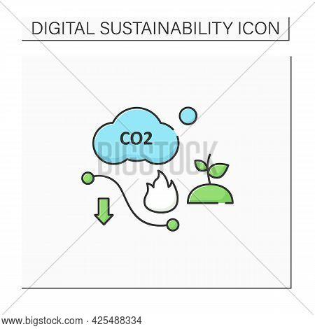Carbon Efficient Color Icon.minimum Feasible Carbon Emissions.low Air Emissions.climate Change.negat