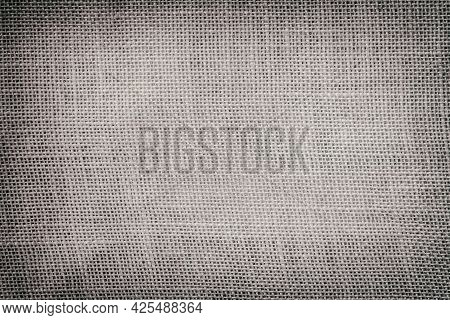 Texture Of Old Canvas With Vignette, Sackcloth, Vintage Background