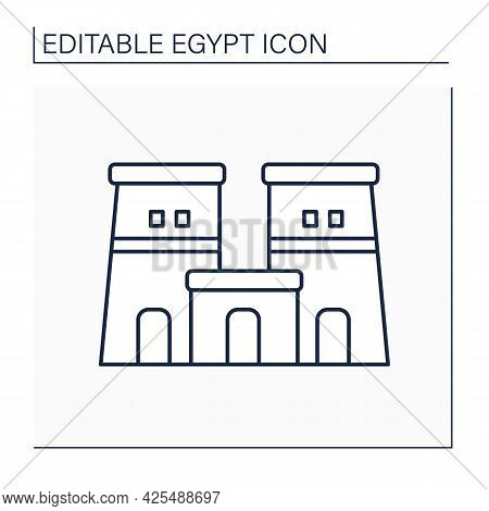 Edfu Temple Line Icon. Dedicated To Horos God. Traditional Religious Temple. Egypt Concept. Isolated