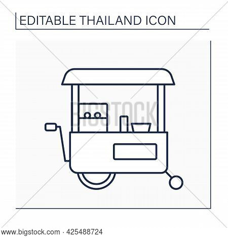 Food Cart Line Icon. Fast Food Transport. Mobile Catering And Meal Vending Services. Tuk Tuk. Thaila