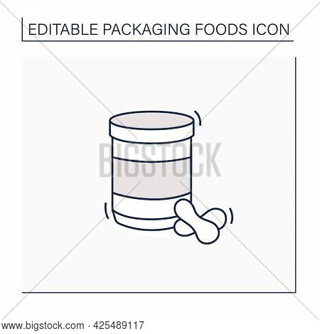 Peanut Butter Jar Line Icon. Glass Or Steel Container. Portion Control, Protection, Tampering Resist