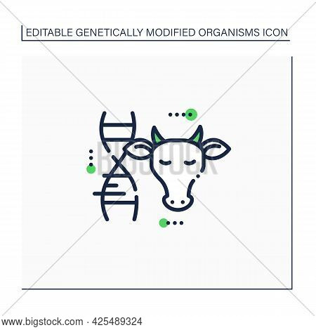 Cow Line Icon. Genetically Modified Cow Meat And Milk. Gmo Product. Inorganic Food. Genetically Modi