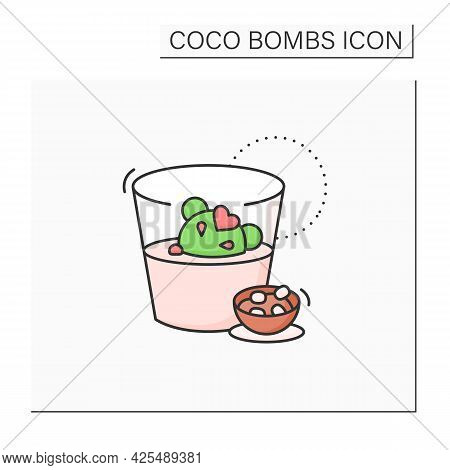 Coco Bomb Color Icon. Delicious Dessert. Cute Ball Of Chocolate With Marshmallows Filling. Melted In