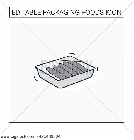 Sausages Line Icon. Meal In Plastic Box. Portion Control, Protection, Tampering Resistance From Bact