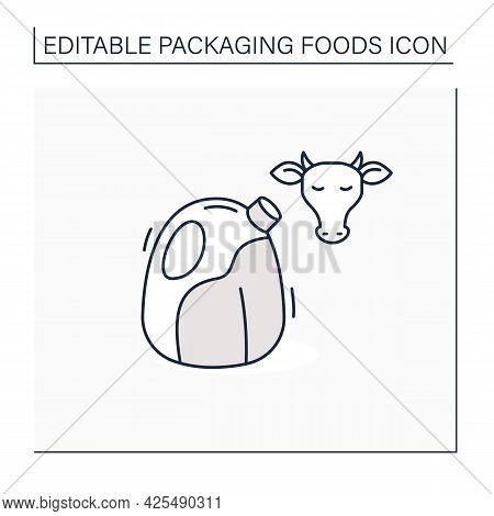 Milk Line Icon. Large Milk Bottle. Protection, Tampering Resistance From Bacteria. Packing Food Conc