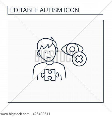 Neurodevelopmental Disorder Line Icon. Eye Contact Avoidance. Poor Contact. Autism Spectrum Disorder