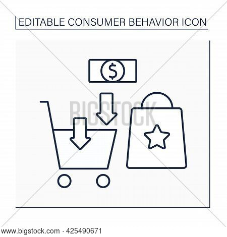 Purchase Line Icon. Buying Needed Goods. Shopping Cart. Consumer Behavior Concept. Isolated Vector I