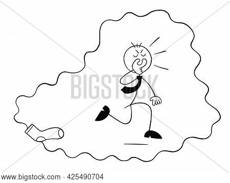 Stickman Businessman Character Covers His Nose From The Nasty Smell Of Socks And Runs Away, Vector C