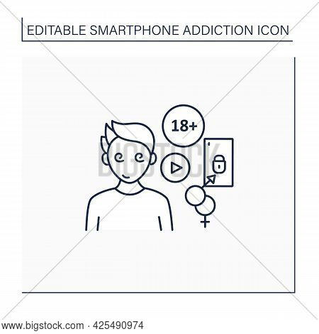 Cybersex Addiction Line Icon. Dependence Of Reading Erotic Stories, Viewing, Pornography. Smartphone