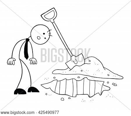 The Soil Is Dug And Stickman Businessman Character Looking, Vector Cartoon Illustration. Black Outli