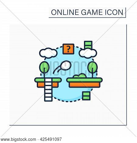 Platformer Color Icon. Jumping Ball Across Variety Platforms.collection Items, Awards.online Game Co