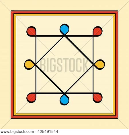Colored Ring Of Solomon In A Square Frame, A Yantra On Yellowish Background. Two Overlapping Squares