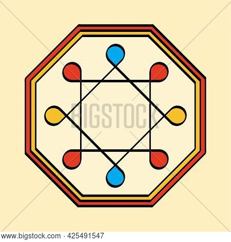 Colored Ring Of Solomon In An Octagonal Frame, A Yantra On Yellowish Background. Two Overlapping Squ