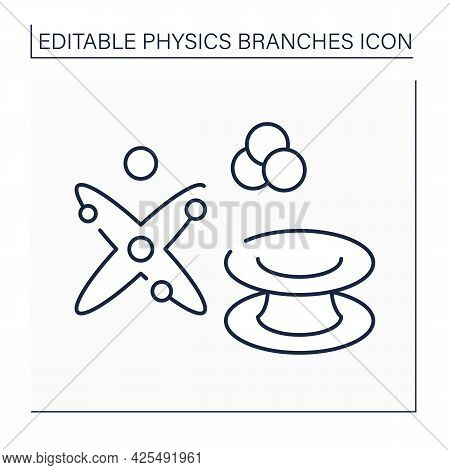 Quantum Physics Line Icon. Wacky Behavior Of Photons, Electrons And Atoms. Physical Branches Concept