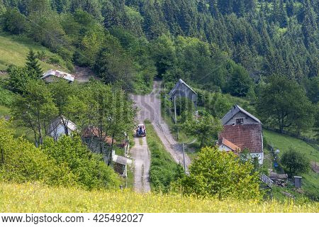 Top View Of The Part Of The Mountain Village In Bosnia And Herzegovina. Agricultural Concept Represe