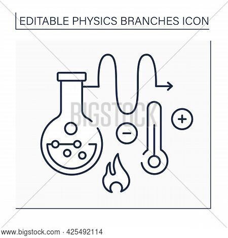 Thermodynamics Line Icon.heat And Temperature, Relation To Energy, Radiation, And Physical Propertie