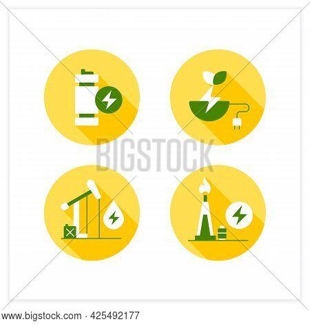Energy Flat Icons Set. Oil, Gas Power. Modular Mini Reactor, Biomass Energy. Power Stations. Electri