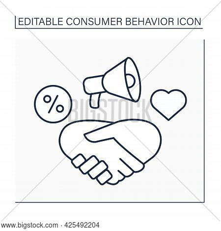 Relationship Marketing Line Icon. Strategy For Building Close Relationships With Customers, Supplier