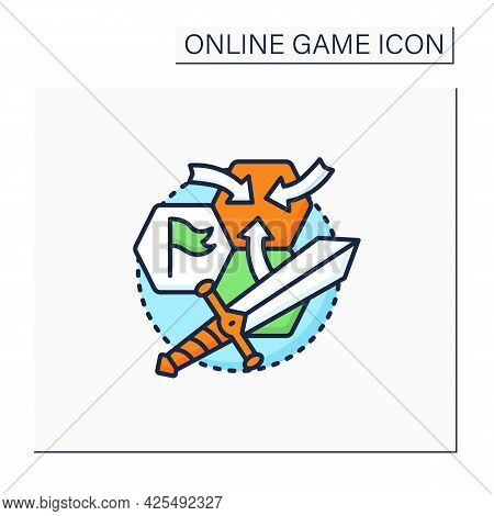Strategy Game Color Icon. Sequential Actions To Achieve Goals. Storylines. Different Characters.onli